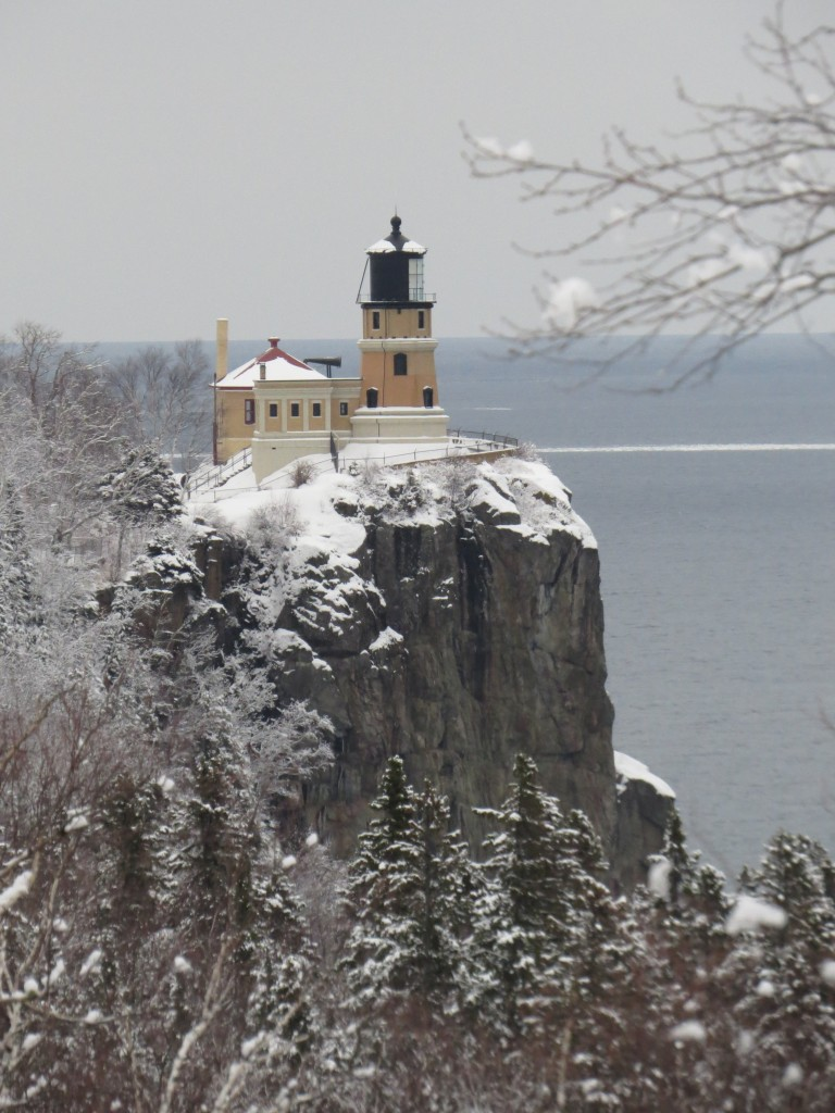 Viewing Split Rock Lighthouse while chasing a Great Gray Owl sighting