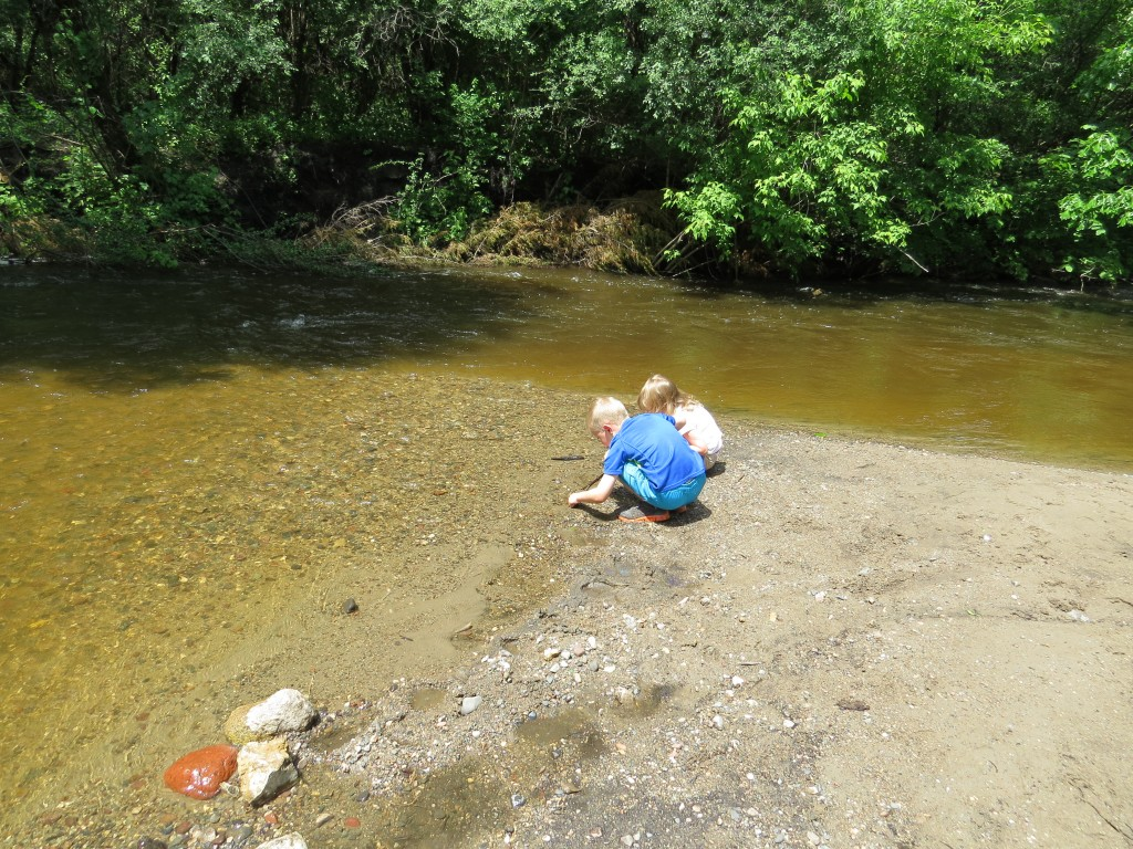 Looking for shells at Hidden Valley Park in Savage, Minnesota