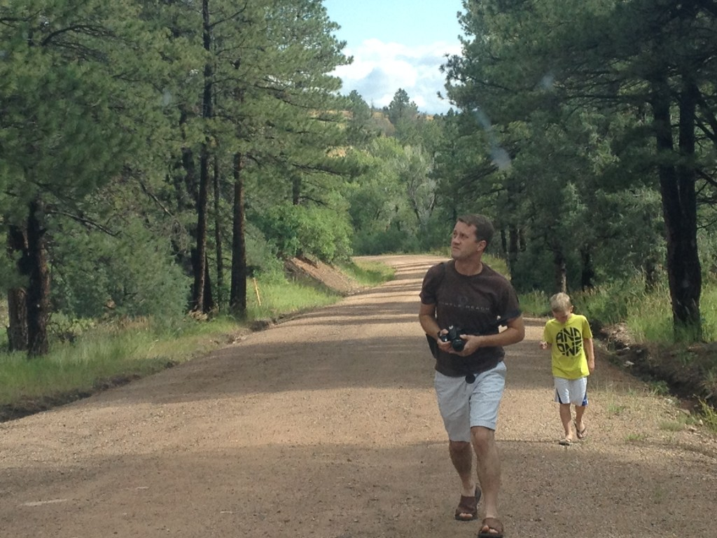 Evan and I searching for WETA on foot on Greenwood Road, Custer County, Colorado