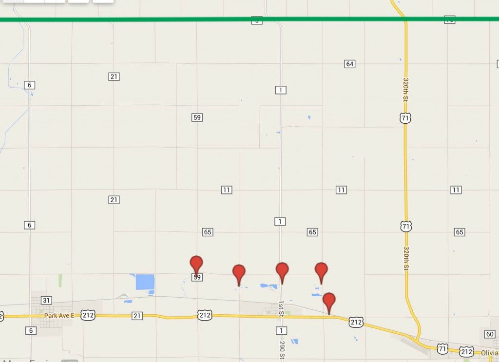 The green line is the Kandiyohi County and Renville County Line - Blue Grosbeaks are only six miles away!