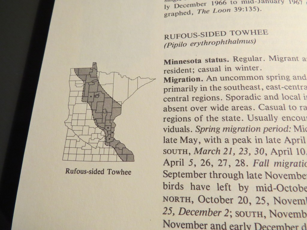 Rufous-sided Towhee range map in Minnesota - Credit Robert Janssen in Birds in Minnesota