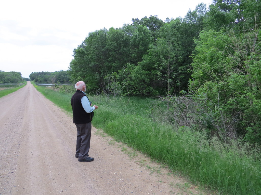 Bob Janssen at the site of his latest county bird, a Kandiyohi County Wood Thrush